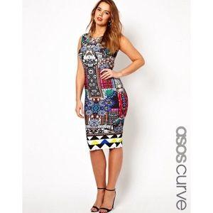 💎 ASOS curve Bodycon Jewel Print Dress💎